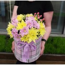 Желтые и розовые хризантемы в шляпной коробке